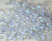 Czech pressed glass 4mm fire polished round beads crystal etched blue rainbow 50 beads