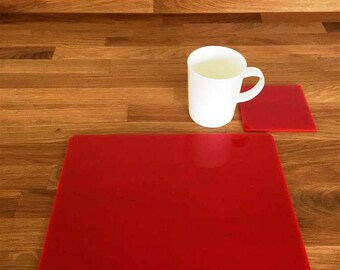Rectangle Placemats or Placemats & Coasters - in Red Gloss Finish Acrylic 3mm
