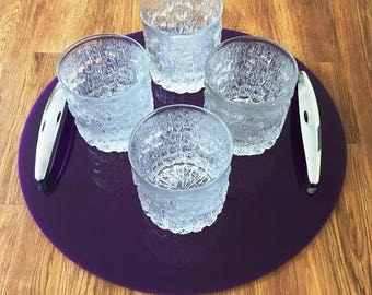 Round Serving Tray with Chrome Handles in Purple Gloss Finish 3mm Thick & Rubber Feet. Size 32cm, 12.5""