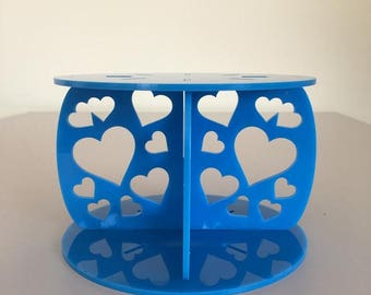 "Hearts Round Bright Blue Gloss Acrylic Cake Pillars / Cake Separators, for Wedding / Party Cakes 10cm 4"" High, Size 6"" 7"" 8"" 9"" 10"" 11"" 12"""