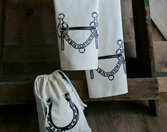 Tea Towels-Set of 2- Liverpool Curb Bit -with free gift bag- Cotton Equestrian Kitchen Towel