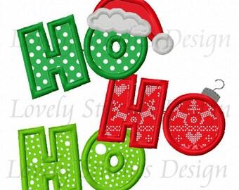 Christmas HOHOHO Applique Machine Embroidery Design NO:0574