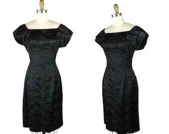 1950s Black Cocktail Dress / 50s Embroidered Dress / Black Satin Sheath Dress