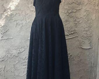Vintage black lace prom bustier dress 60s 70s