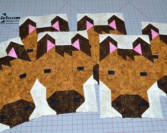 Horse Quilt BLOCK Pattern, PDF, Instant Download, modern patchwork, farm animal, cute, pony