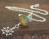 RESERVED for D. Blue Nautical Artisan Lampwork Glass Ships Wheel Necklace. Summer Gemstone Necklace.  Boho Luxe Jewelry