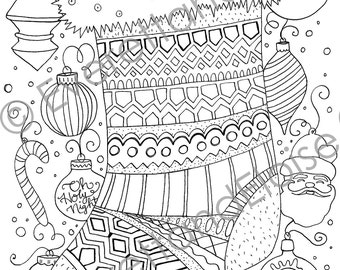 "Digital Download ""Christmas Stocking"" Coloring Page"