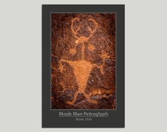 Southwest Poster, Moab Man Petroglyph, Rock Art, Native American Art, Indian Art, Utah Landscape, Desert Landscape, Wall Decor, Photography