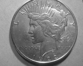 1922 P Peace Silver Dollar # 371, 90% Circulated US Coin
