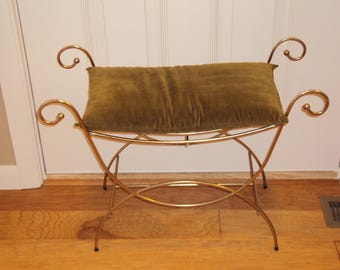 Mid Century Gold Hollywood Regency/ Dressing Room/Bathroom/Bedroom Vanity Chair/Stool/ Patio Decor/Plant Stand/ Metal Bench/ 27 X 20 X 12