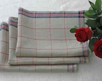 "Set of 2 Natural Checkered Linen Kitchen Towels, (28.3""x 20"")Blue Grey Red Linen Towels, Tea Towels, Dishcloths, Dish Cloths, Kitchen Towels"
