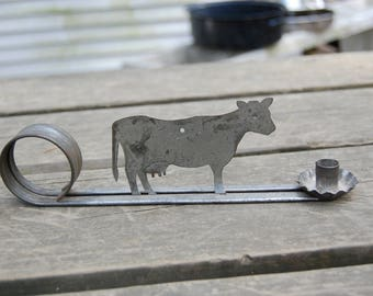 Cow Candle Holder - Vintage Metal Cow Candle Holder - Handheld or Hanging Metal Country Cow Candle Holder - Cow Silhouette Candle Holder