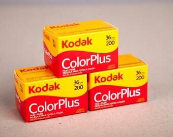 3 Rolls Kodak Color Plus 200. 35mm Negative Film (36 Exposure). 35mm film for color prints.