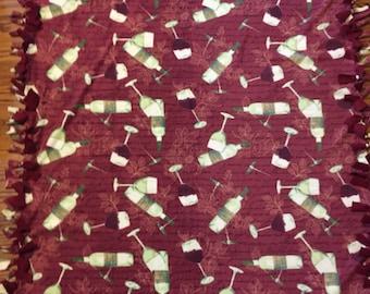 Wine Fleece Tie Blanket