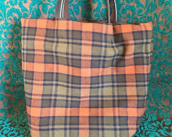 Brown and Green Plaid Bag