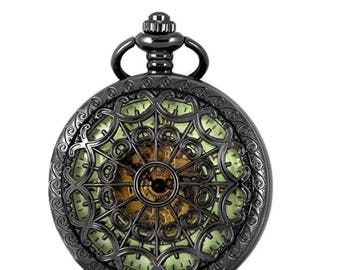 Spiderweb Luminous Mechanical Skeleton Hand-wind Pocket Watch with Chain