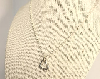 Solid Stering Silver Heart Necklace