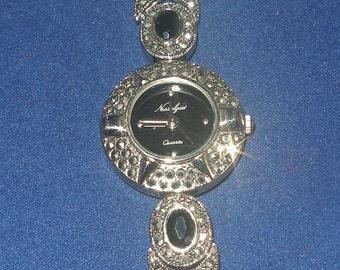 Elegant ONYX and MARCASITE BRACELET Watch