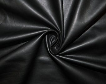 "Black Matte Pleather Faux Leather Stretch Vinyl Polyester Lycra Spandex Medium Weight Apparel Craft Fabric 58""-60"" Wide By The Yard"