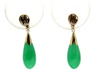 14k Yellow Gold Jade Earrings