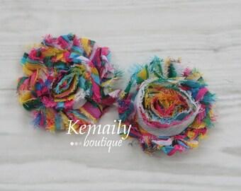 2 PackShabby Chic Frayed Rainbow Chiffon Rosette Set Flower, Fabric Flower, Craft Supplies, DIY Flower, DIY supplies, Embellishment