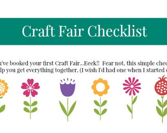 Craft Fair Checklist / Event planner - Downloadable PDF