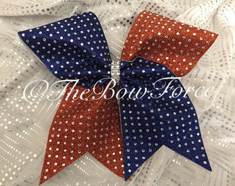 Big All Gliiter and Bling Cheer Bow orange Royal Blue