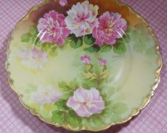Limoges Plate Peonies