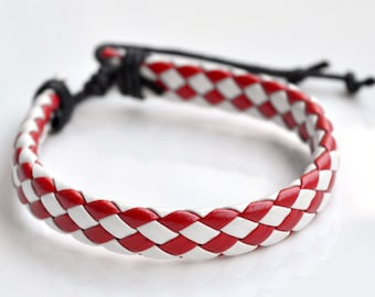 Red&white leather cord bracelet