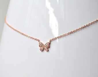 Pink gold butterfly necklace zirconium