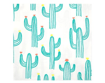 Cactus Paper Napkins (Set of 20) - Meri Meri Party Napkins LARGE