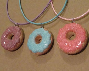Donut Charm Necklace, Pink Sparkly Donut, Blue Sparkly Donut, Purple Sparkly Donut, Donut Jewelry, Donut Party Favor, Donuts, Donut Party