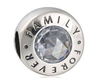 Pandora Silver/Clear CZ ***Family Forever ***Charm 791884CZ
