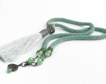 Long Celadon Green Necklace With Bead Crochet Rope And Gray Tassel, Sage Green Necklace