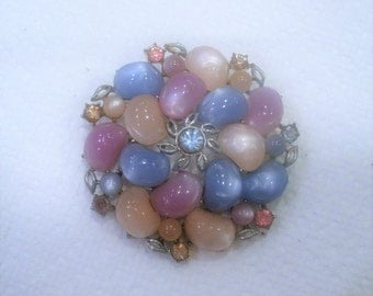 Vintage Coro Signed Brooch / Large Brooch / Multi Colored Rhinestones / Kidney Shaped Lucite
