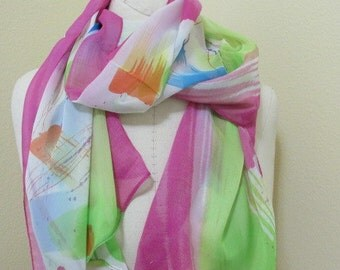 SALE - Hand Painted Silk Scarf