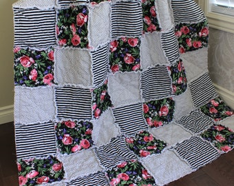 Rag Quilt, Throw Quilt, Couch Blanket, Flowers And Stripes, Black And White Quilt, Flower Throw Quilt Ready To Ship