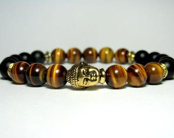 Mens Tiger Eye Buddha Bracelet, Mala Bracelet, Mens Beaded Bracelet, Unisex Bracelet, Yoga Bracelet, Yoga Gift, Stretch Bracelet