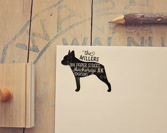 Boston Terrier Address Stamp - Dog Return Address Stamp - Dog Lover Gift - Rubber Stamp - Personalized Pet Address Stamp