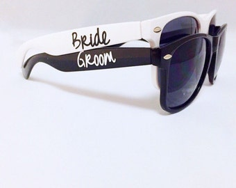 Bride Sunglasses - Groom Sunglasses - Bride and Groom Sunglasses - Destination Wedding Favors - Engagement Photo Props - Custom Sunglasses