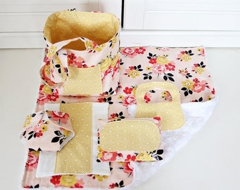 Baby Doll Diaper Bag with Blanket/Burp Cloth/Wipes Case/Diaper/Bib/Baby Doll Bag/Bitty Baby