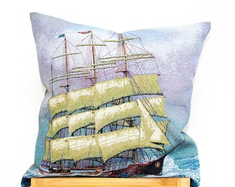 Decorative Cushion Cover, Woven Pillow Case, Tapestry Royal Navy, Ship, Multicolor Cushion Cover (16x16in - 40x40cm) for Home Decor