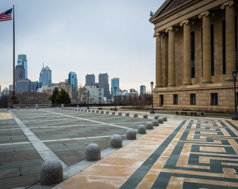 The Center City skyline and the Philadelphia Museum of Art, in Philadelphia, Pennsylvania. | Photo Print, Stretched Canvas, or Metal Print.