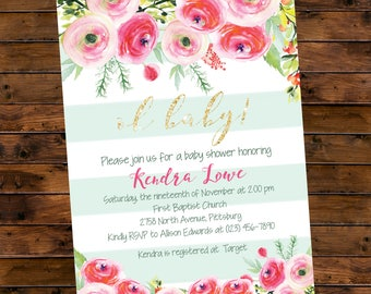 Floral Mint Stripe Baby Shower Invitation