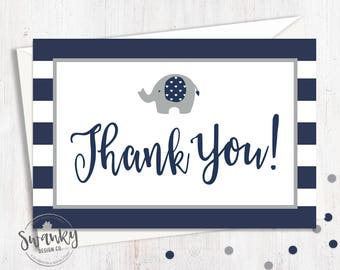 Elephant Baby Shower Thank You Cards, Navy and Gray Thank You Card, Postcard Style Thank You, Navy Elephant Theme Shower, Instant Download