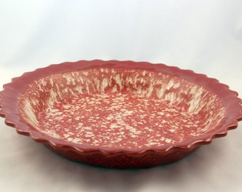 Stoneware Pottery Baking Pie Plate - Quiche Baking Dish - Red and Cream Pie Dish