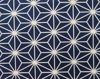 Asanoha Navy / Cream Japanese Cotton Fabric Per 50cm Length TG131