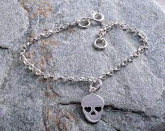 Ankle bracelet sterling silver 925 sugar skull charm chain ankle bracelet anklet