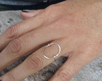 Dainty Ring, Circle Ring, Hammered, Simple, Tiny Ring, Sterling Silver