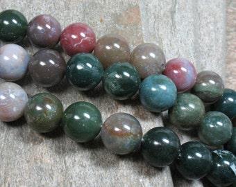 "Fancy Jasper Beads, 14 mm, 15.5"" strand - Item B0815"